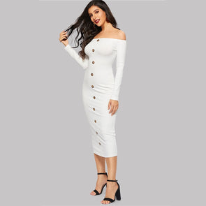 Plain White Single Breasted Ribbed Knit Dress