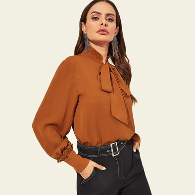 Brown Frill Detail Tie Neck Top