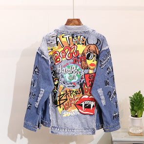 Free Size Fashionable Patchwork Jean Jacket
