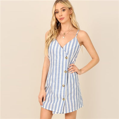 Beach Blue Single Breasted Wrap Striped Cami Sheath Short Dress