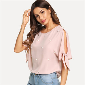 Pink Pearl Beads Knot Elegant Blouse