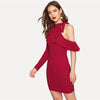 Burgundy Knitted Asymmetric Flounce One-Shoulder Stand Collar Bodycon Dress