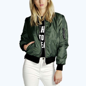 Thin Zipper Bomber Casual Long Sleeve Stand Collar Jacket