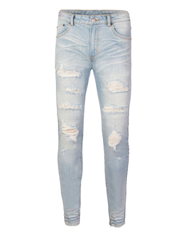 Destroyed Diamanté Light Indigo Denim