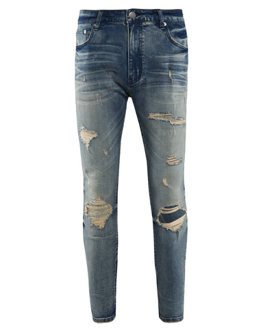 Diamanté Ripped Sand Blue Denim