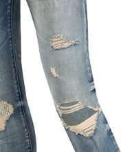 Load image into Gallery viewer, Diamanté Ripped Sand Blue Denim