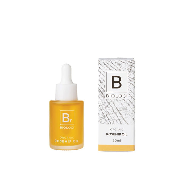 Biologi Serum Br Organic Rosehip Oil 30ml glass bottle next to box.