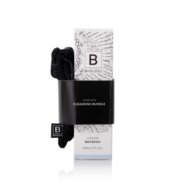 Biologi Serum Bc Refresh Cleanser 150ml in box with black microfibre cloths attached.