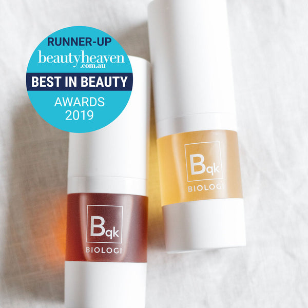 Award winning Biologi Serum Bqk Radiance Face Serums beside each other.