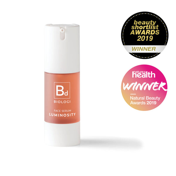 Award winning Biologi Serum Bd Luminosity Serum 30ml White Bottle.