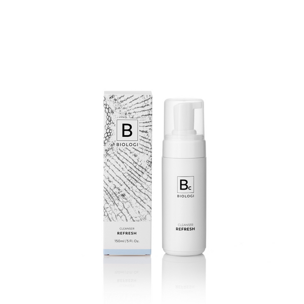 Biologi Serum Bc Refresh Cleanser 150ml bottle next to package.