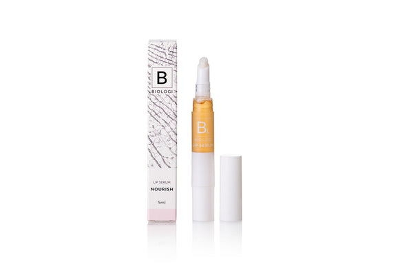 Biologi Serum BL Nourish Lip Serum 5ml opened beside box.