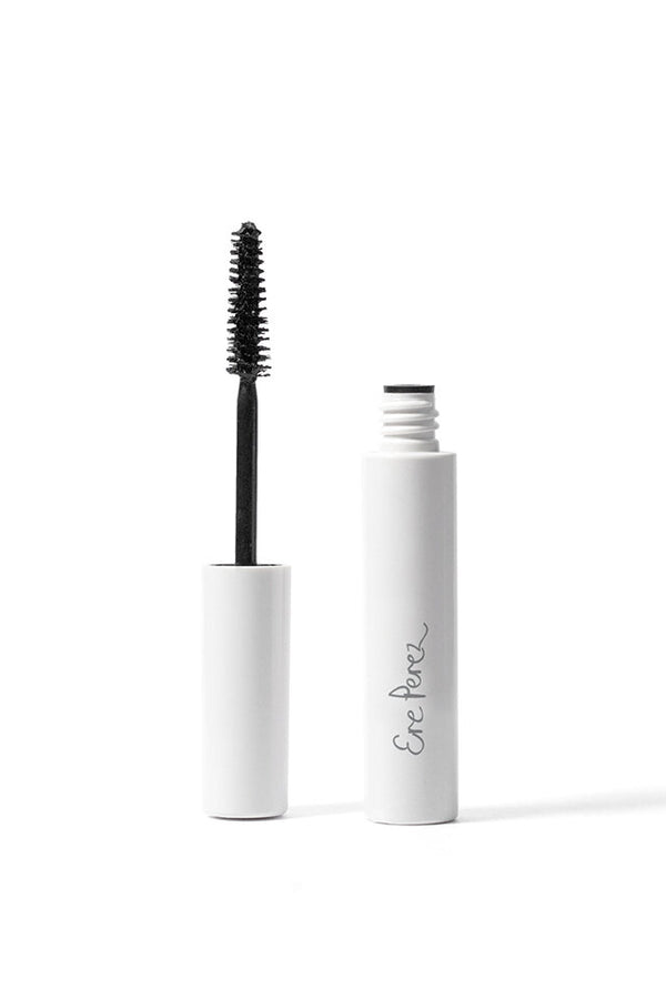 Ere Perez Avocado Waterproof Mascara Black opened with brush.