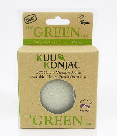 Kuu Konjac French Green Clay Konjac Sponge boxed.