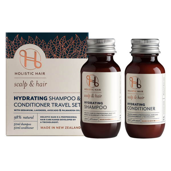 Holistic Hair Hydrating Shampoo and Conditioner Travel Set.