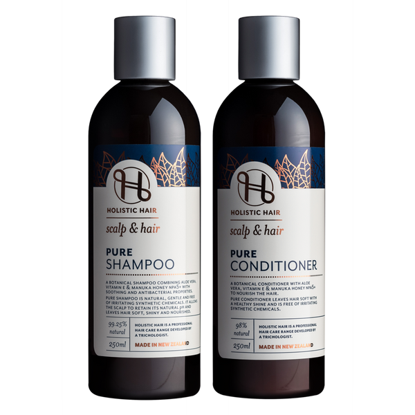 Holistic Hair Pure Shampoo and Conditioner Set 250ml bottles.