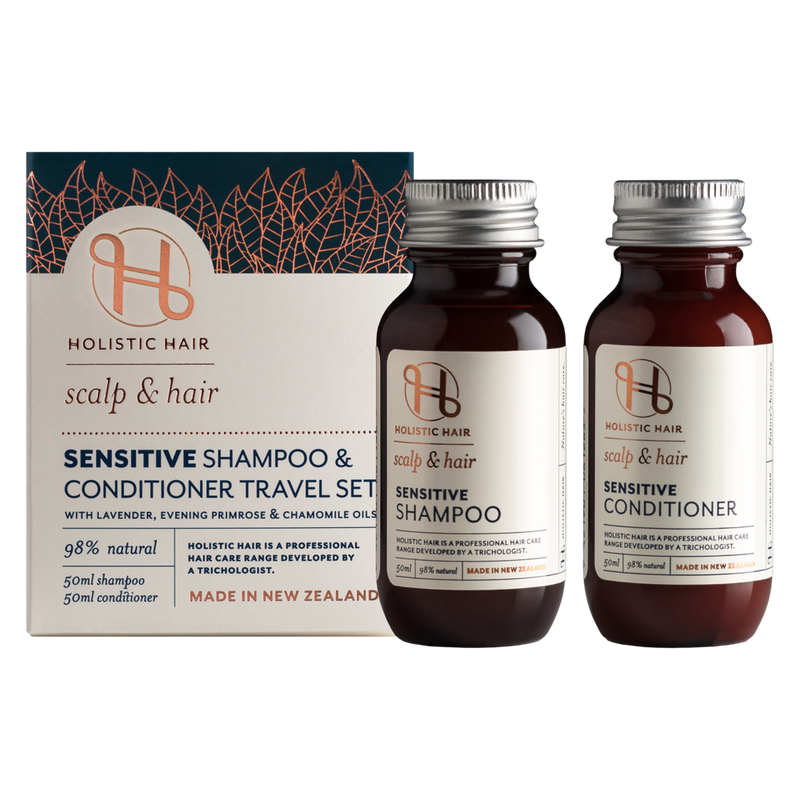Holistic Hair Sensitive Shampoo and Conditioner Travel Set 2 x 50ml bottles next to box.