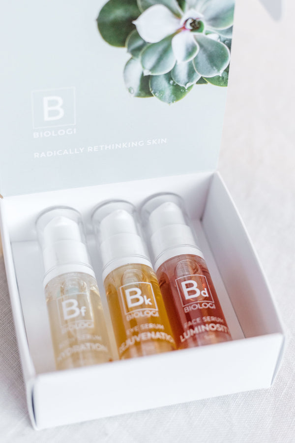 Biologi Serum Save My Skin Mini Bundle bottles in an open box.