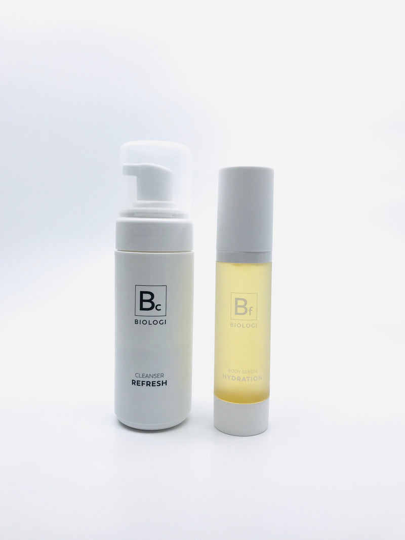Biologi Bc Refresh Cleanser 150ml and Biologi Bf Hydration Serum 50ml bottles.