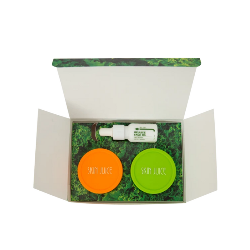 Skin Juice Redness Relief Kit Box contains Smudge Budge cleanser, Green Juice Skin Balm, and Re Juice Face Oil.