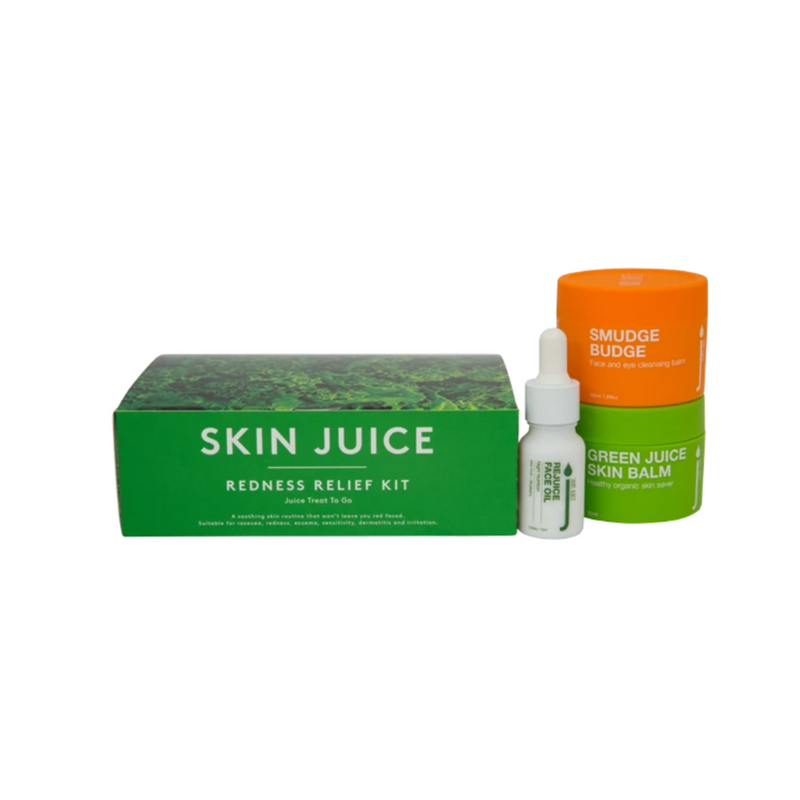 Skin Juice Redness Relief Kit Box contains Smudge Budge, Green Juice Skin Balm, and Re Juice Face Oil.