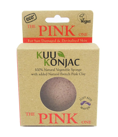 Kuu Konjac French Pink Clay Konjac Sponge boxed.