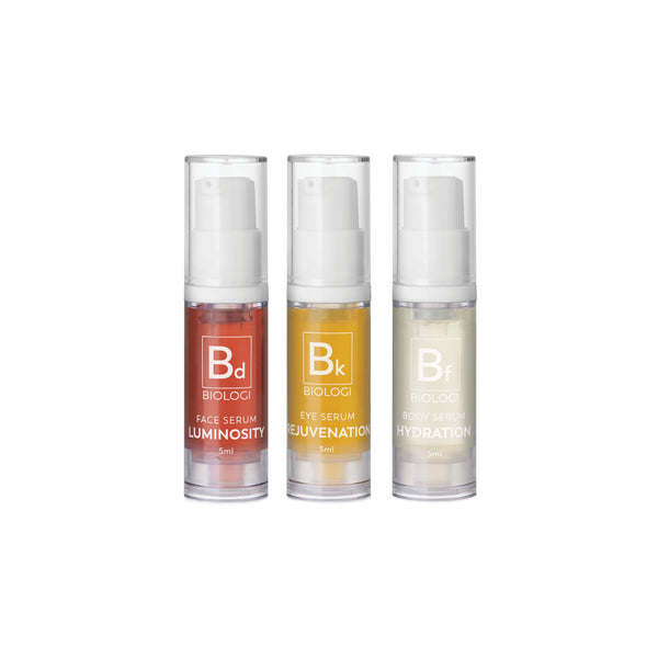 Biologi Serum Save My Skin Mini Bundle contains Bd, Bk and Bf 5ml bottles.