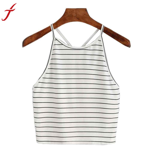 2017 HOT Summer Tops Women Fashion Sexy Striped Top O-Neck Sleeveless Short T-Shirt Tops#LSN