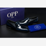 PATENT LEATHER DRESS SHOES BLUE - Top Dress Shoes - OPP Official Store (OPP France)