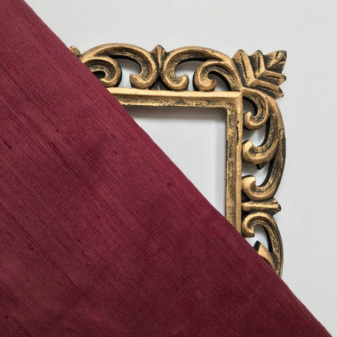 Wine Maroon Plain Raw Silk Fabric