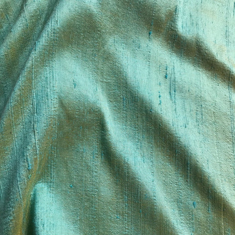 Sea Green Plain Raw Silk Fabric
