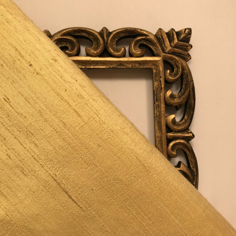Yellow Gold Plain Raw Silk Fabric