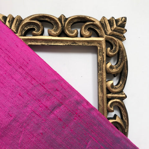 Magenta Pink Plain Raw Silk Fabric