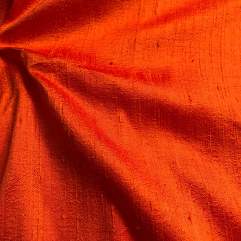 Rusty Orange Plain Raw Silk Fabric