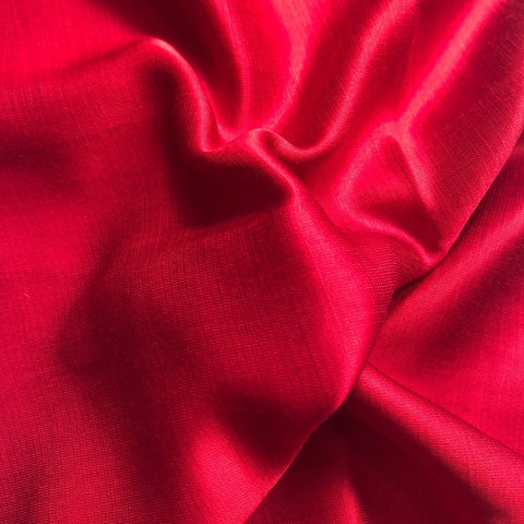 Dark Red Plain Satin Linen Fabric