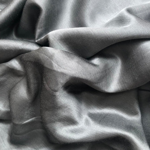 Steel Grey Plain Satin Linen Fabric