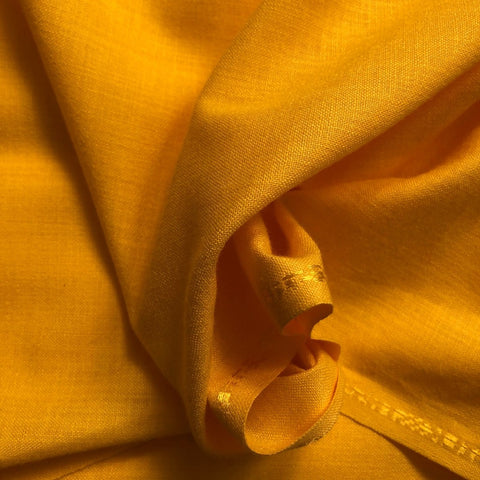 Lemon Yellow Plain Cotton Matka Fabric
