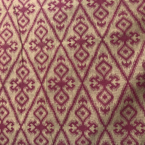 Beige Chanderi With Magenta Abstract Prints Fabric