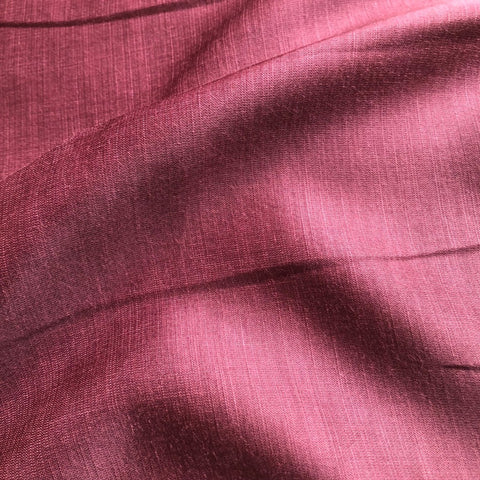 Wine Pink Plain Satin Linen Fabric