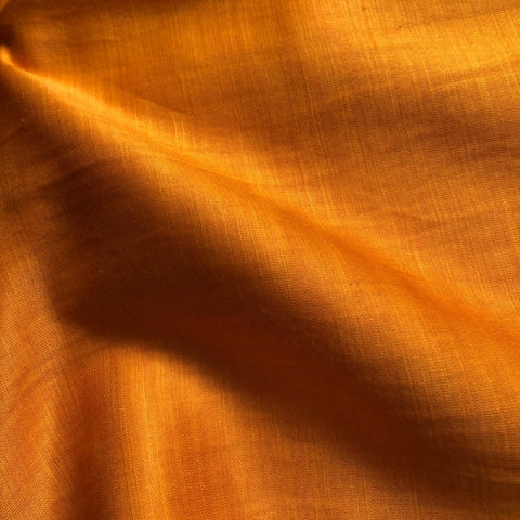 Mustard Orange Plain Satin Linen Fabric