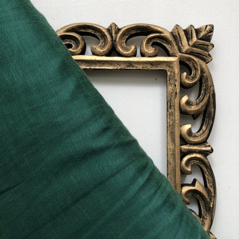 Dark Green Plain Satin Linen Fabric