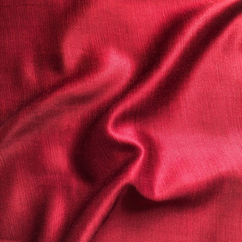 Red Wine Plain Satin Linen Fabric