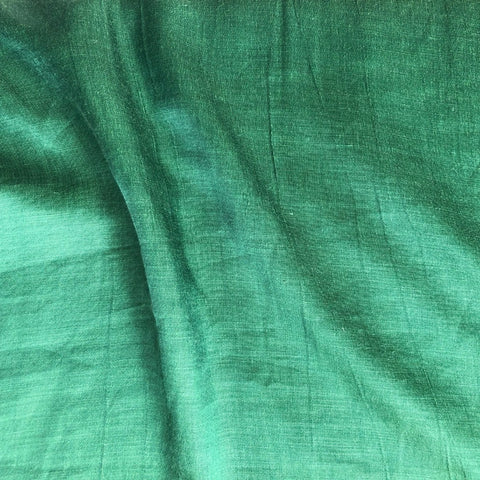 Bottle Green Plain Satin Linen Fabric