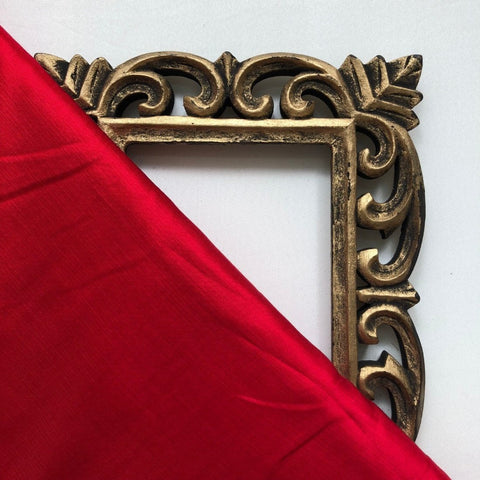Bright Red Plain Satin Linen Fabric