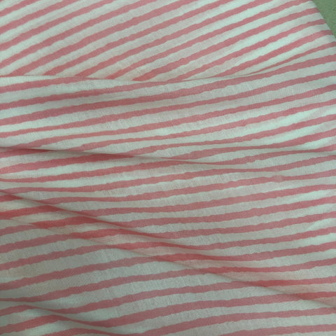 Pink Stripe Maslin Fabric