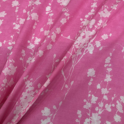 Pink Flower Design Maslin Fabric