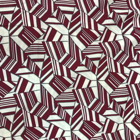 White with Maroon Rayon Printed Fabric