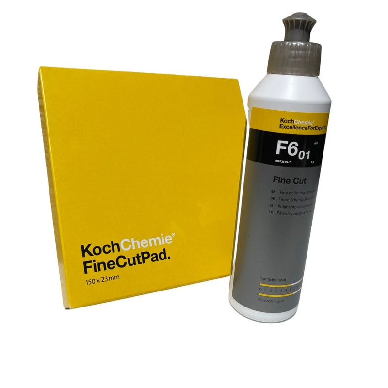 One Cut Polish Set;  Koch Chemie 8.45 Oz Fine Cut F6.01 with 6 inch Fine Cut Pad