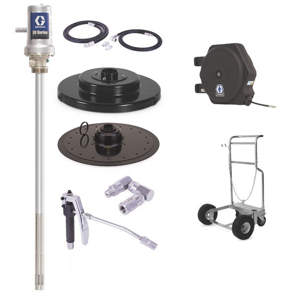 LD Series 50:1 - 120 Lb Grease Package (LD Hose Reel and Mobile Cart)
