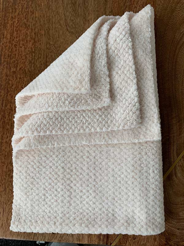 microfiber towel with a weave pattern
